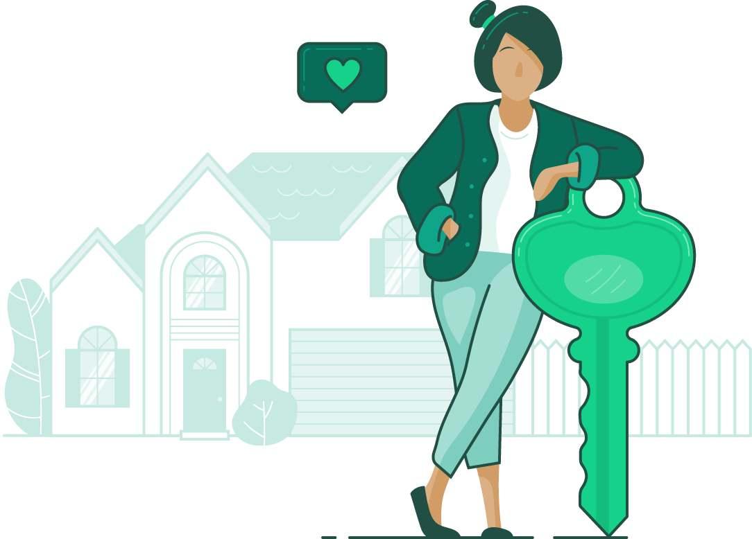 illustration of woman leaning on a large key with a house in the background with a heart above it