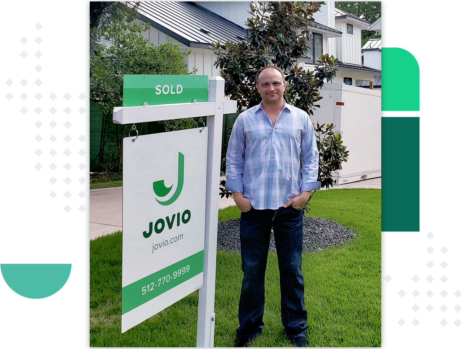 Jovio client standing next to a sold sign