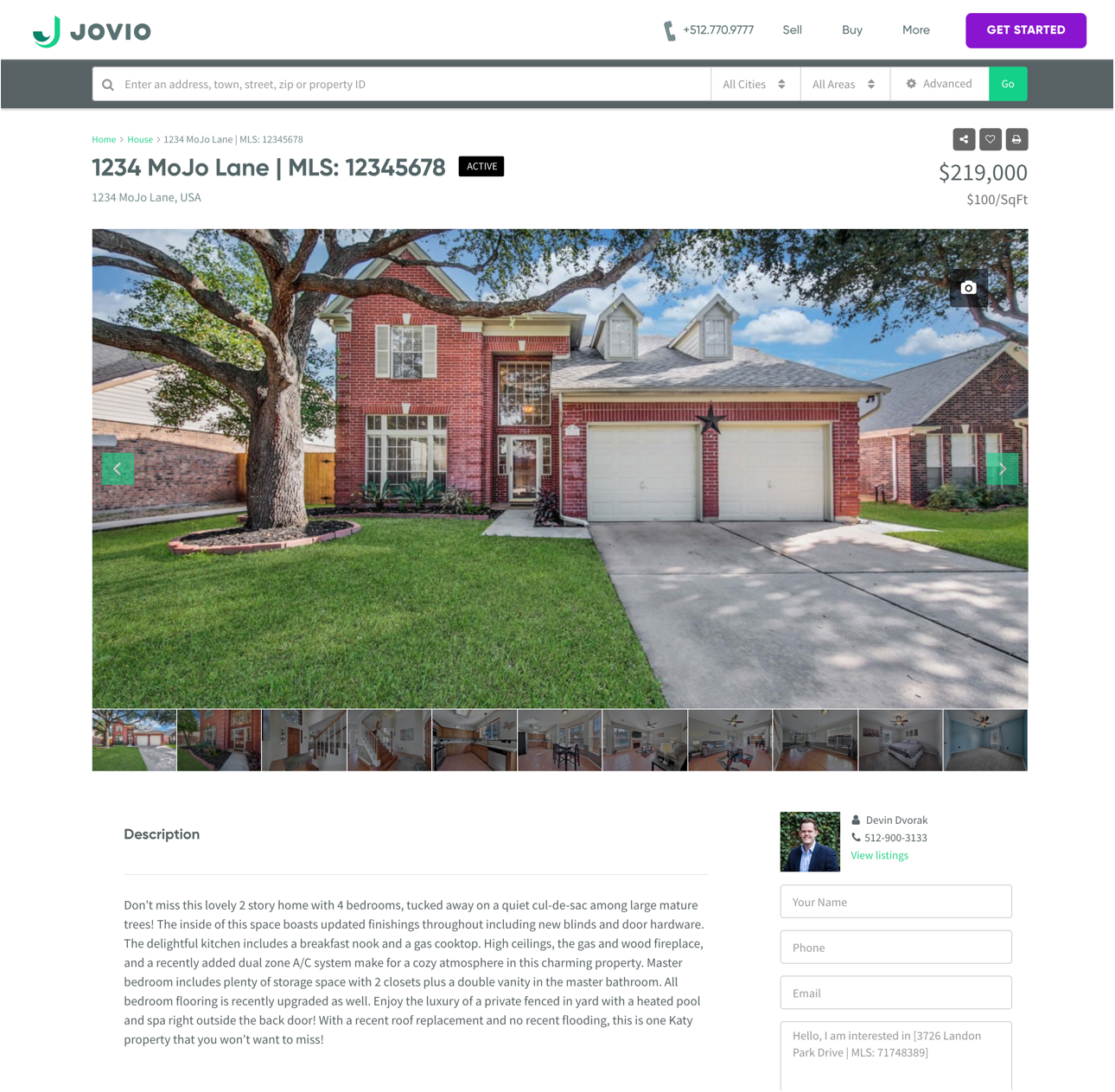 screen showing a home listing with photos and a property description on the Jovio website