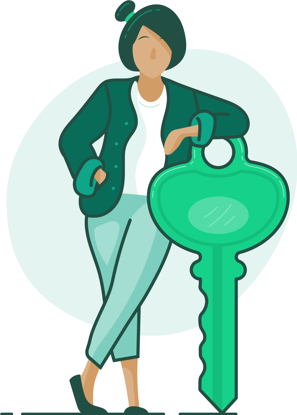 illustration of a woman leaning on a large key