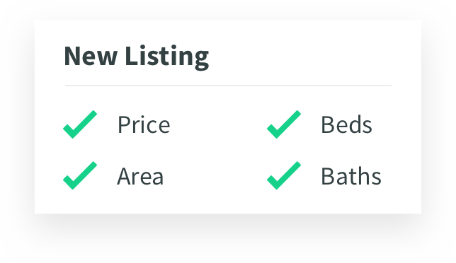 screen popup of new listing checklist