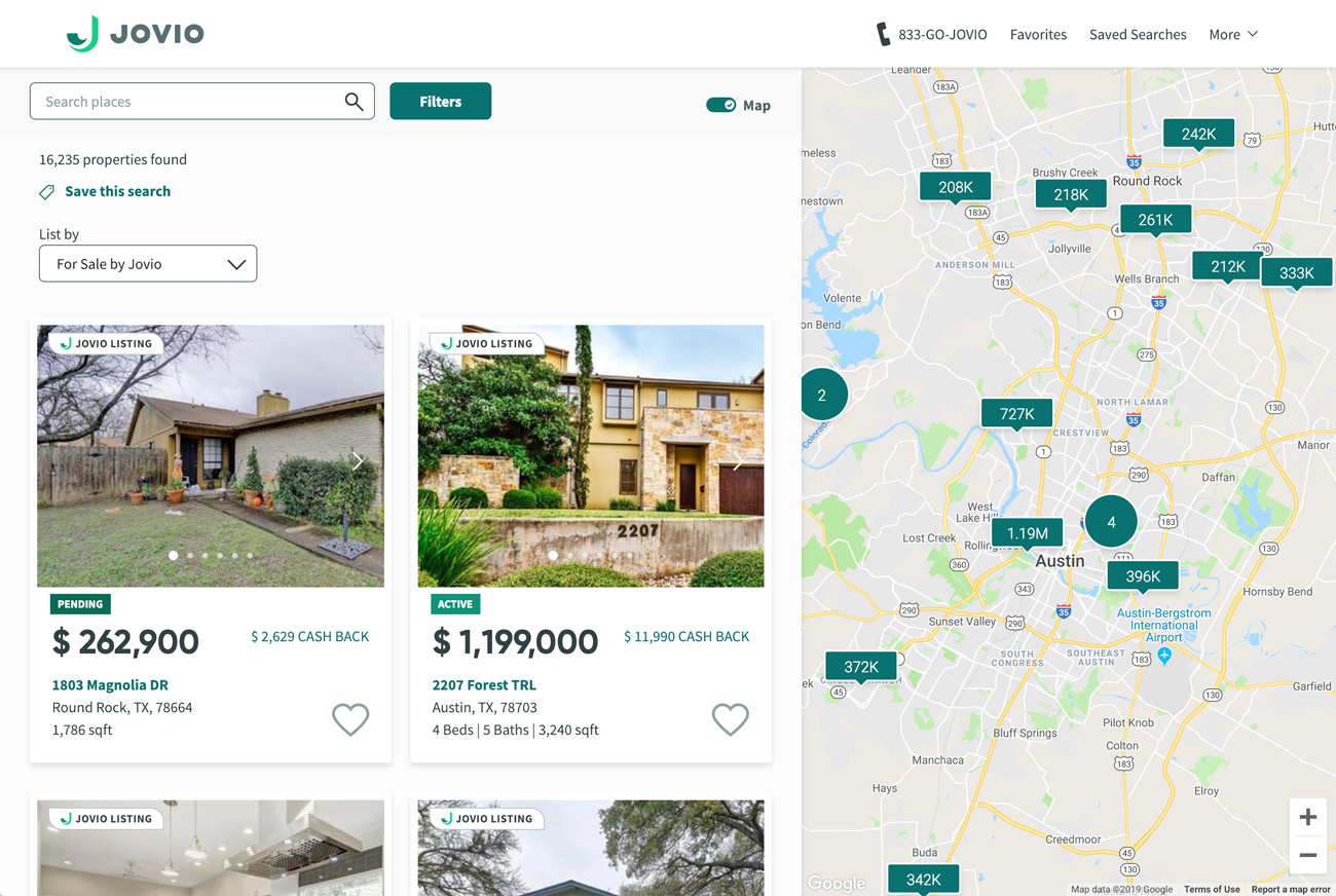 Jovio home search portal with home listings and map view