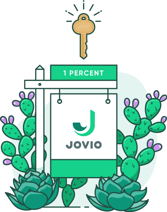 "illustration of a Jovio for sale sign with ""1 percent"" written on it surrounded by cacti with a key hovering above the sign"