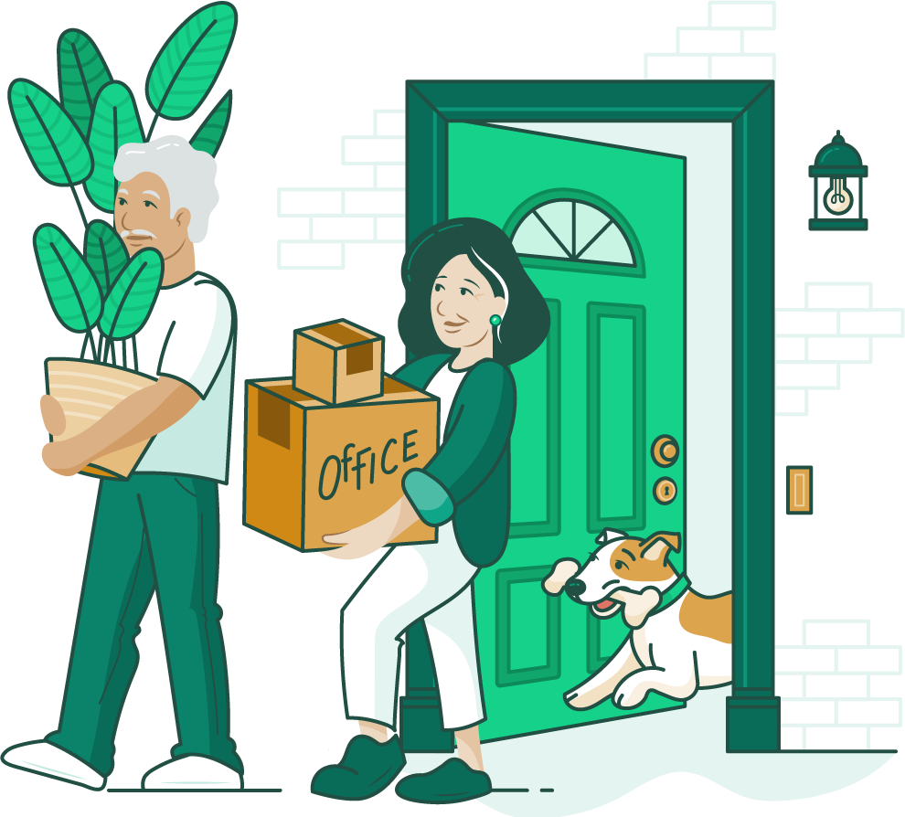 illustration of an older couple moving our of a home with their dog following them