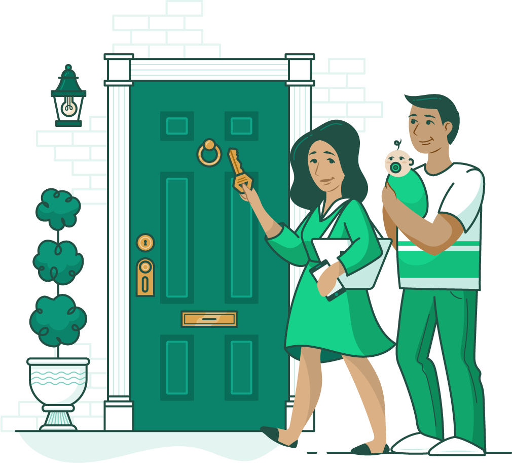 woman with a key in her hand and a man holding a baby walking towards the front door of a home