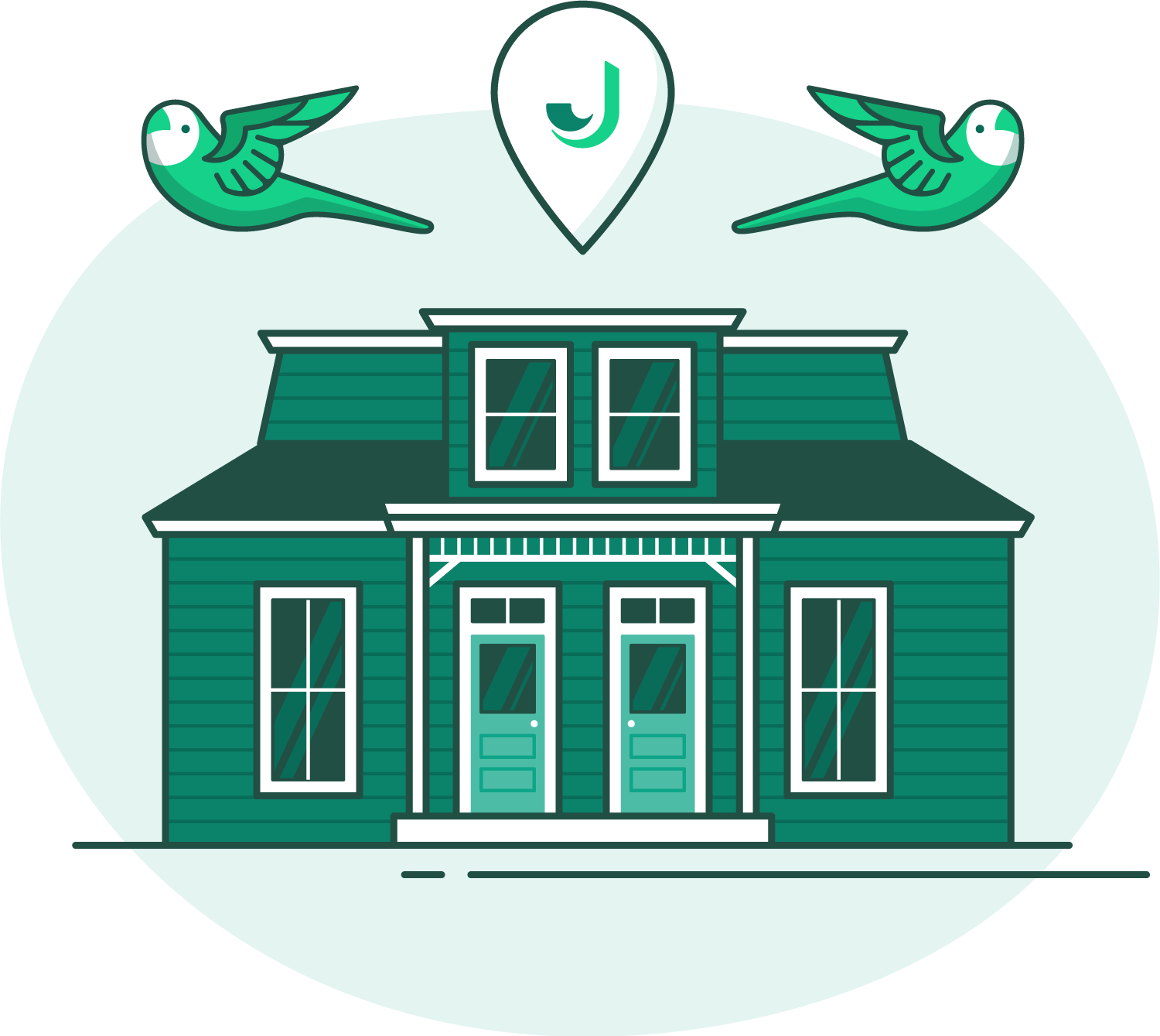 Illustration of Jovio's office - green house with a pin bubble with Jovio logo and two parakeets flying on top