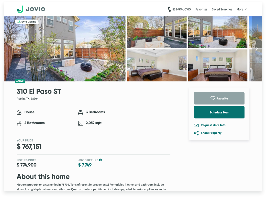 example listing page of a home for sale