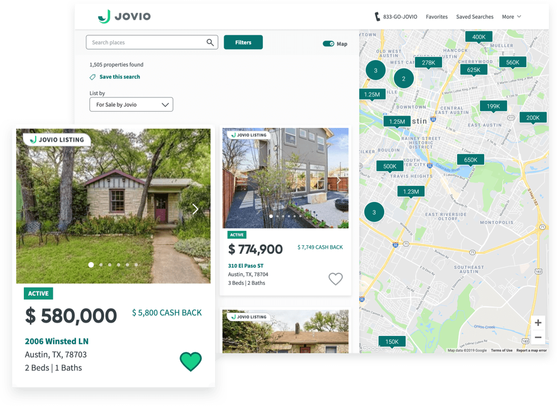 Jovio marketplace showcasing for sale listings and map