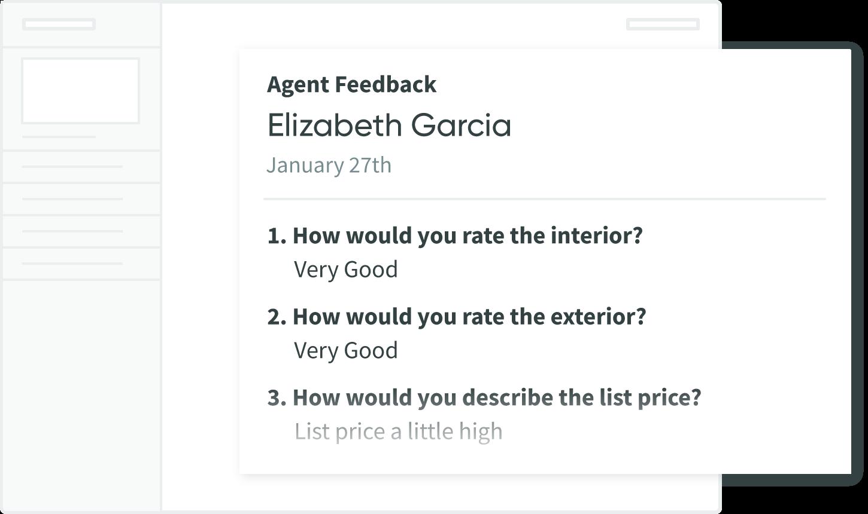 Seller Dashboard screenshot of an Agent's feedback of a property