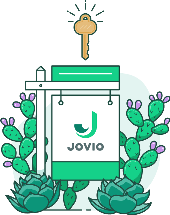 illustration of a real estate sign surrounded by cacti with a key hovering above the sign