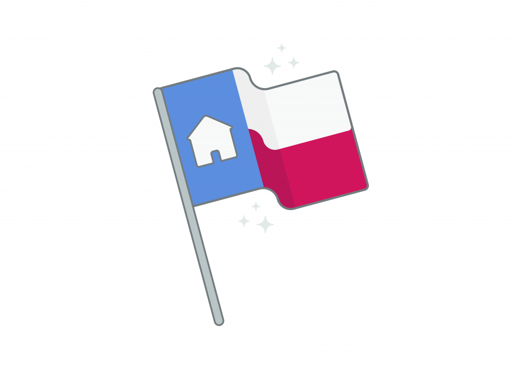 illustration of sparkling Texas state flag with house on it