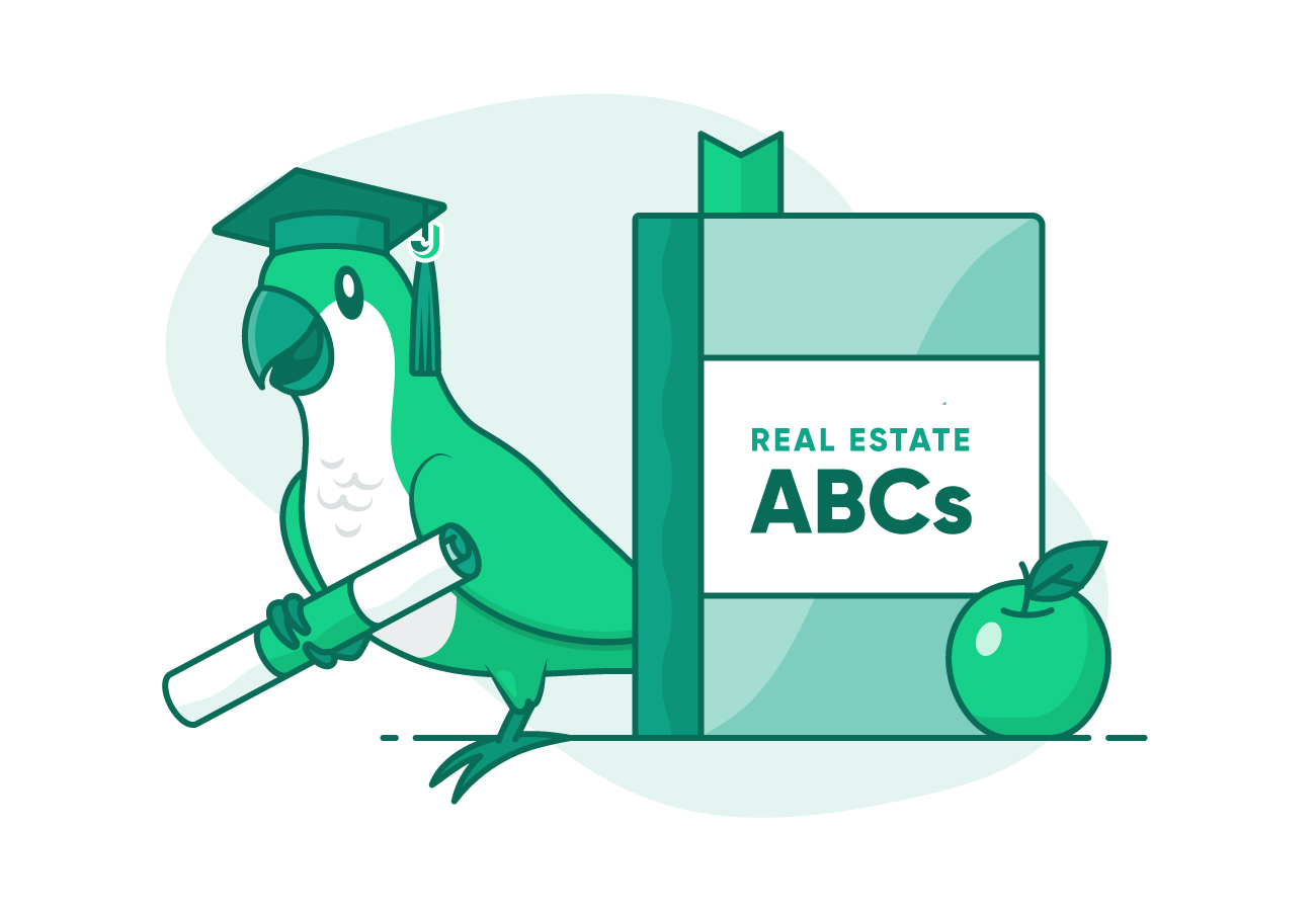 illustration of Mojo green parakeet with graduation cap and diploma next to Real Estate ABCs book and green apple