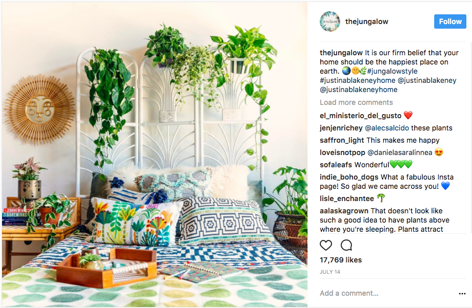 photo of interior designer The Jungalow's Instagram account