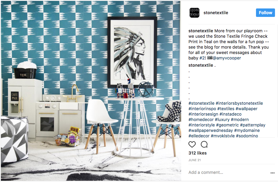 photo of interior designer Stone Textile's Instagram account