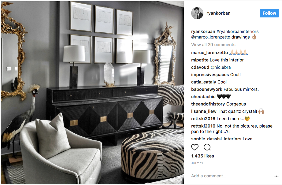 photo of interior designer Ryan Korban's Instagram account