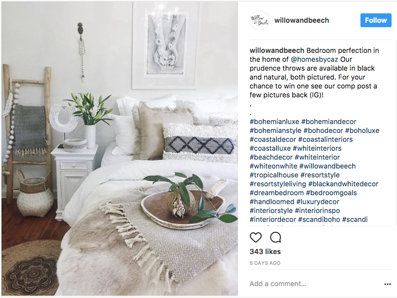 photo of interior designer Willow & Beech's Instagram account