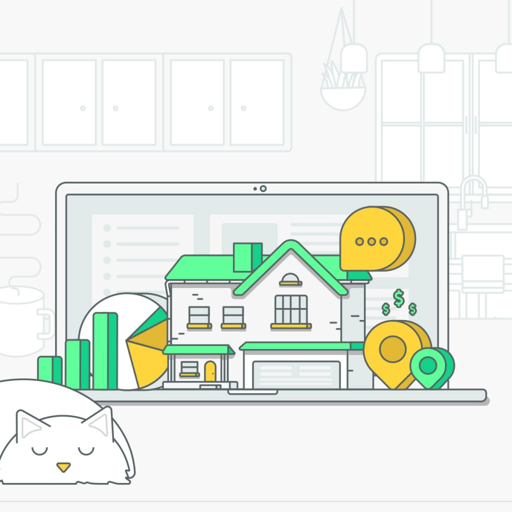 illustration of a laptop screen showing a home and graphs with a cat lying next to it