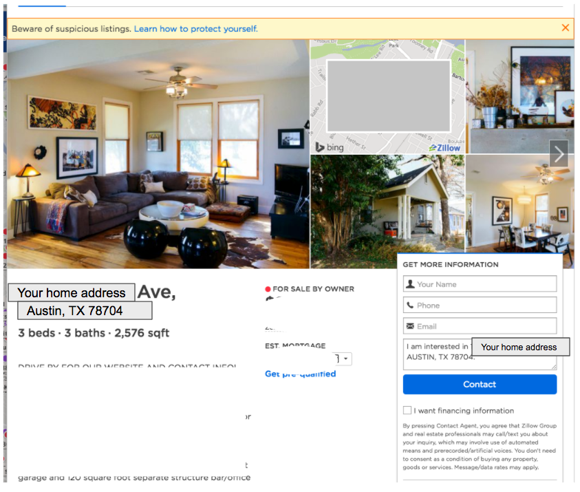 screenshot of Zillow home listing showing home photos, information about the home, and how to get more information
