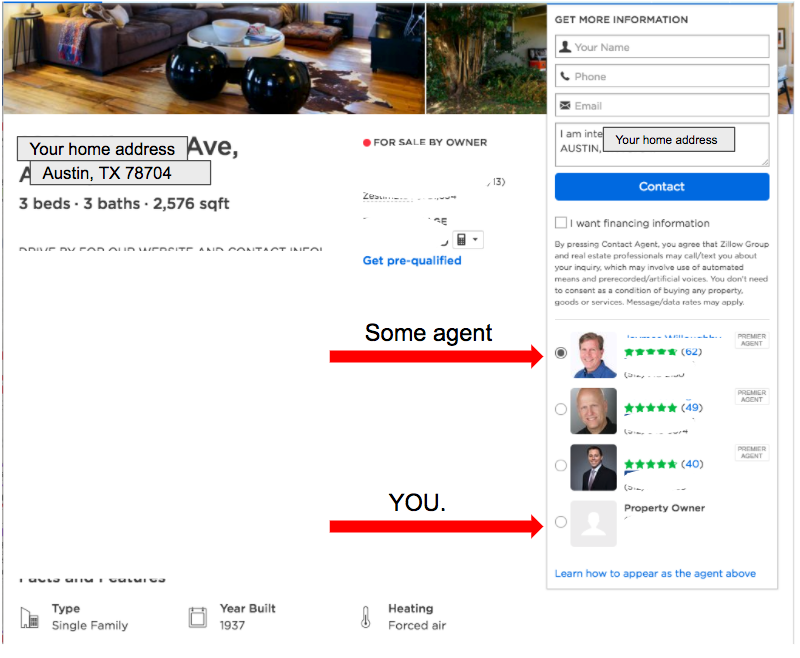 screenshot of Zillow home listing showing home photos, information about the home, how to get more information, agent photos, and property owner photo