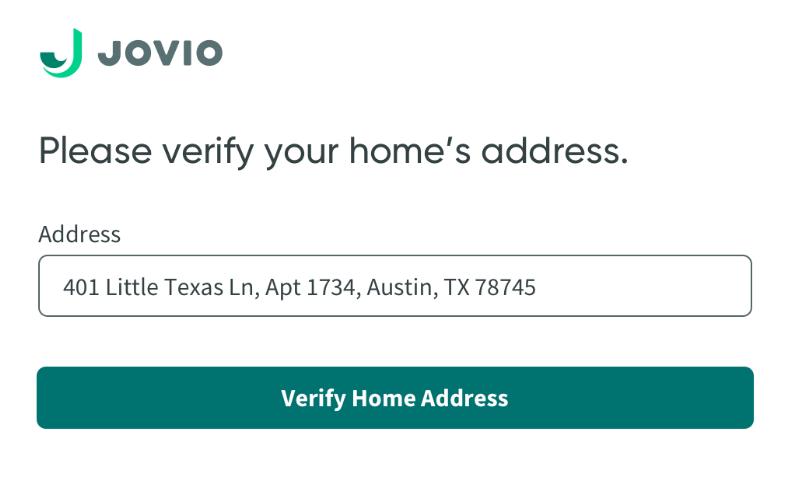 screenshot of form to verify home address