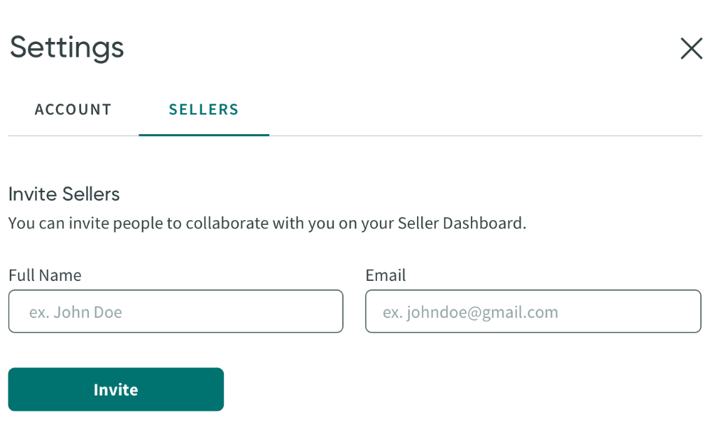 screenshot of form to add other sellers to your seller dashboard