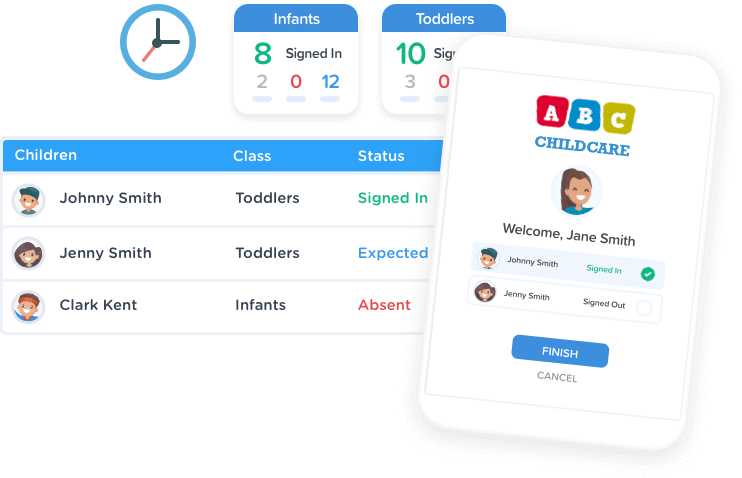 Automated attendance and childcare staff hour tracking