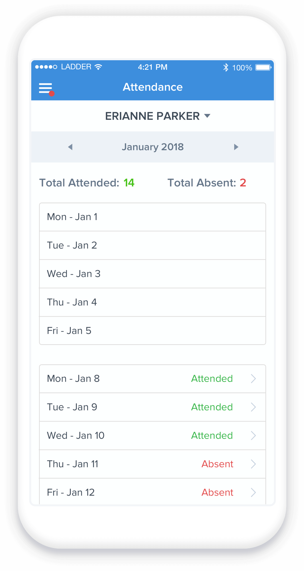 Easily track daycare attendance