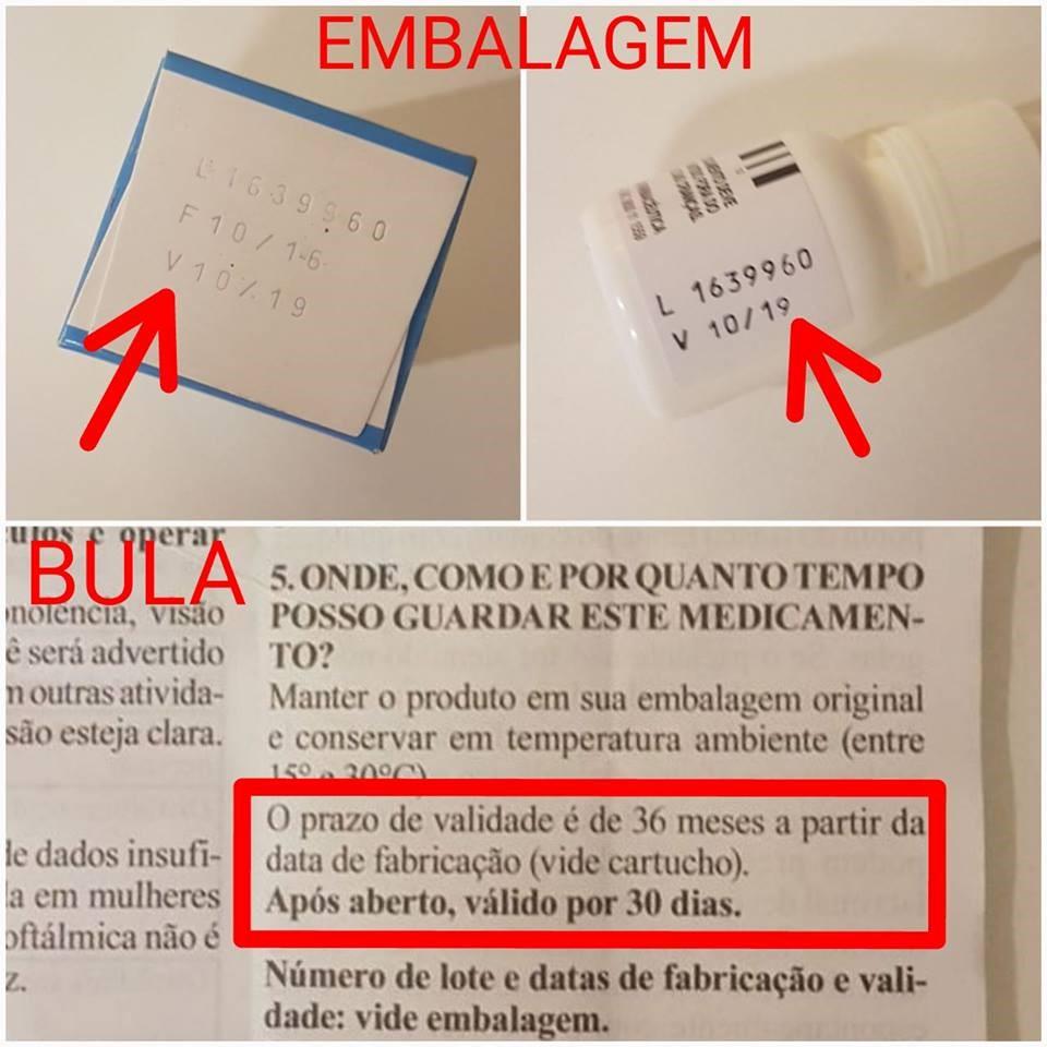 Figura 1. Onde encontrar as informações sobre as datas de validade do colírio (Fonte: Rede Olhos)