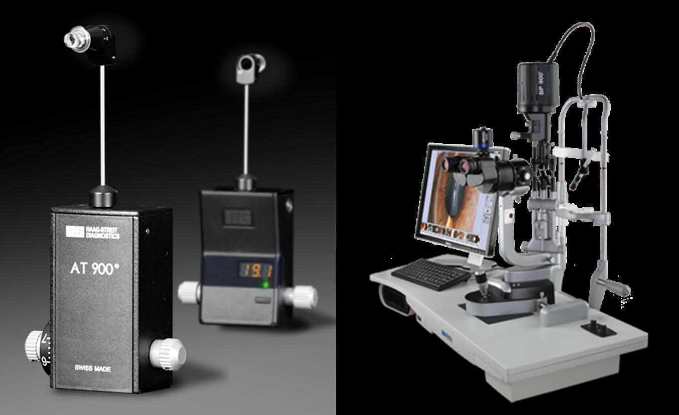 Tonômetro de aplanação acoplado à lampada de fenda para tonometria de contato. (Fonte: Haag Streit)