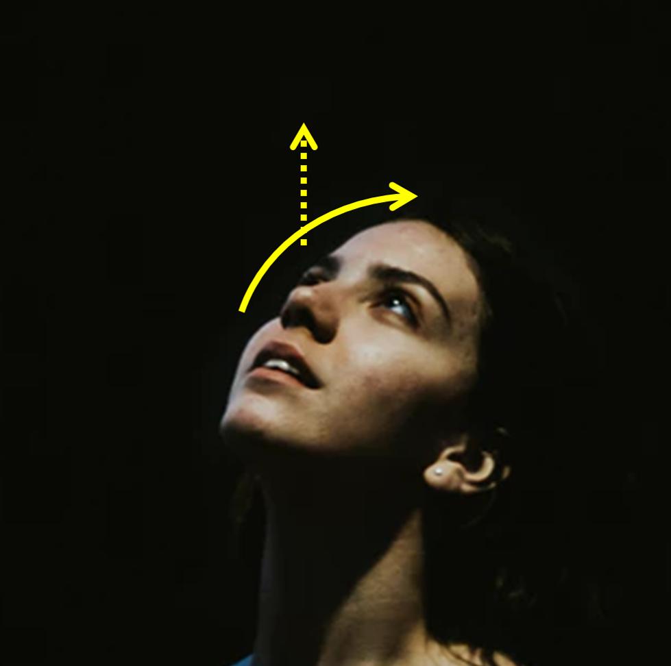Setas ao redor de uma cabeça indicando o sentido do movimento - Movimentar a cabeça para trás e olhar fixo para cima ajuda na aplicação da pomada oftálmica. (Fonte: Rede Olhos)