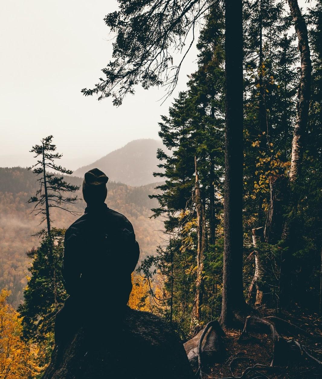 Pessoa descansando em uma paisagem natural -  Após 1 hora de uso contínuo de eletrônicos: Pare e olhe para longe e para os lados. (Fonte: Unsplash)