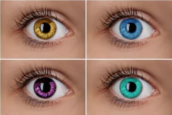 4 olhoscom lentes de cores diferentes: amarelo, azul, verde e rosa - Lentes de contatos coloridas são fáceis de encontrar mas precisam de acompanhamento de oftalmologista.