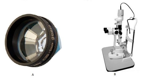 ente especial e lâmpada de fenda utilizados para o exame de gonioscopia. (Fonte: Volk | EyeTec)