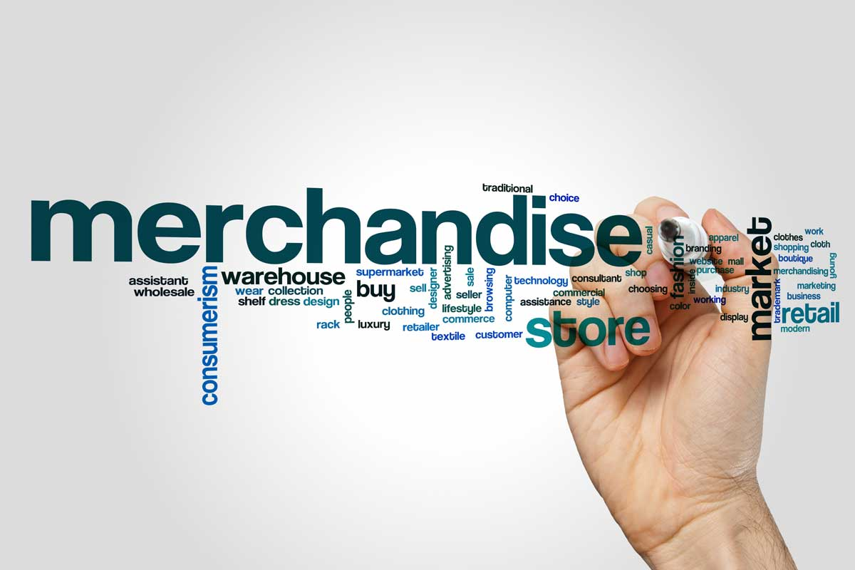 Merchandising word collage with hand and marker