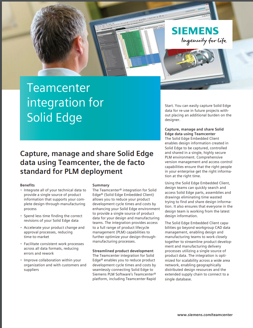 Teamcenter for Solid Edge brochure image