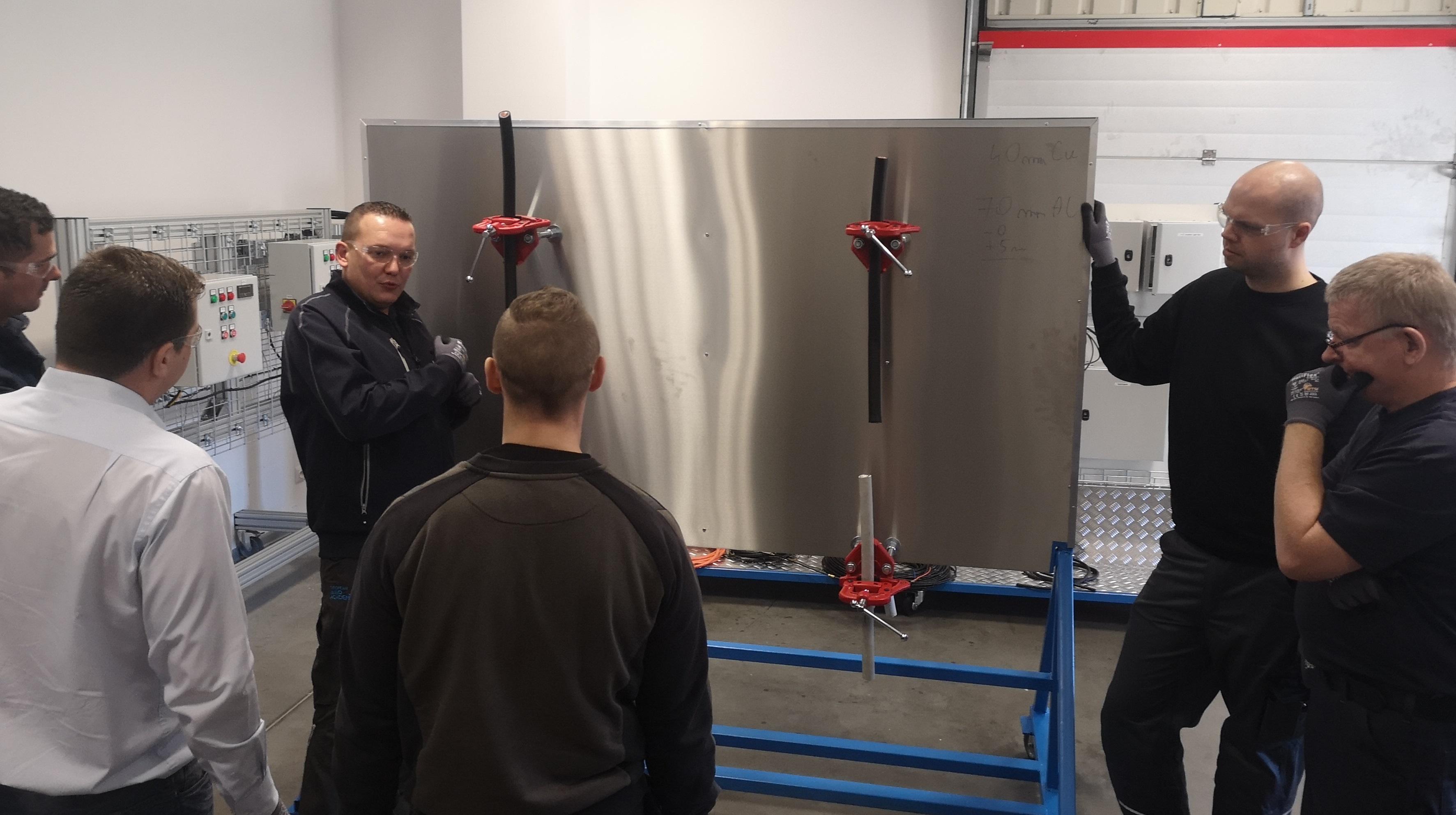 Delegates follow their instructor during the BTT Installation Module pilot at European Wind Academy in Poland