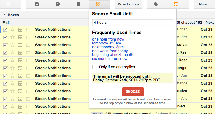 Snooze emails | Streak - CRM for Gmail
