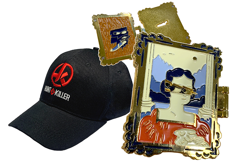 One-of-a-kind Hunt A Killer Pin and a Hunt A Killer Baseball Cap