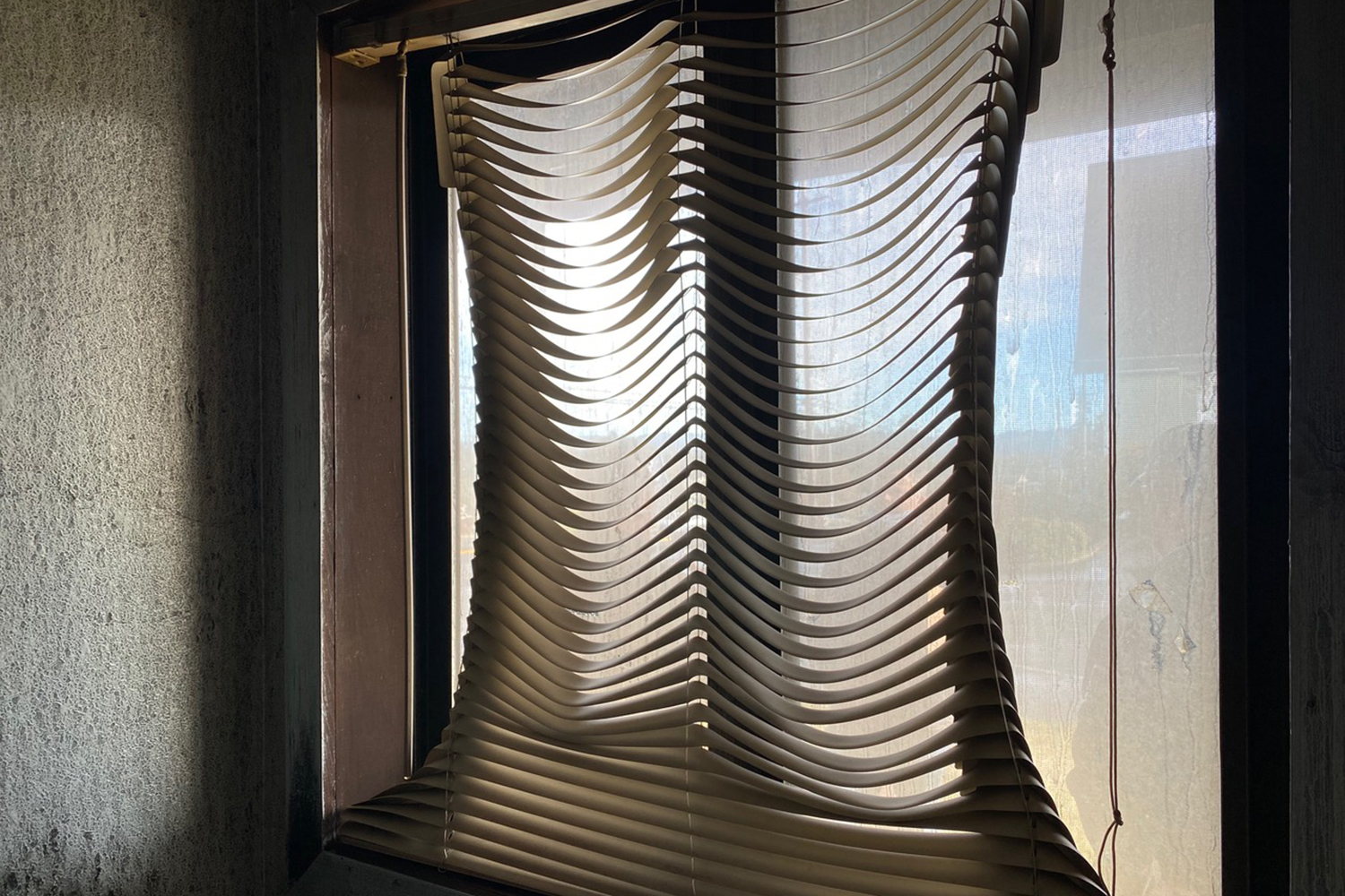 Melted window blind