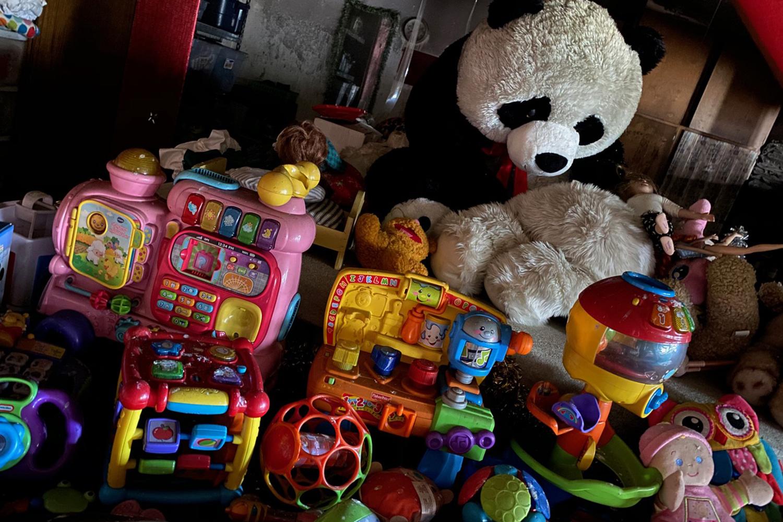 Sad panda and other damaged toys