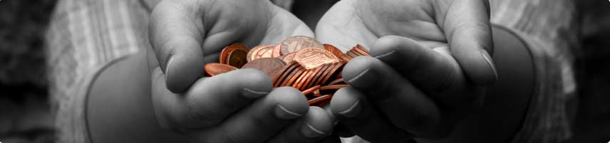 Pennies in hands