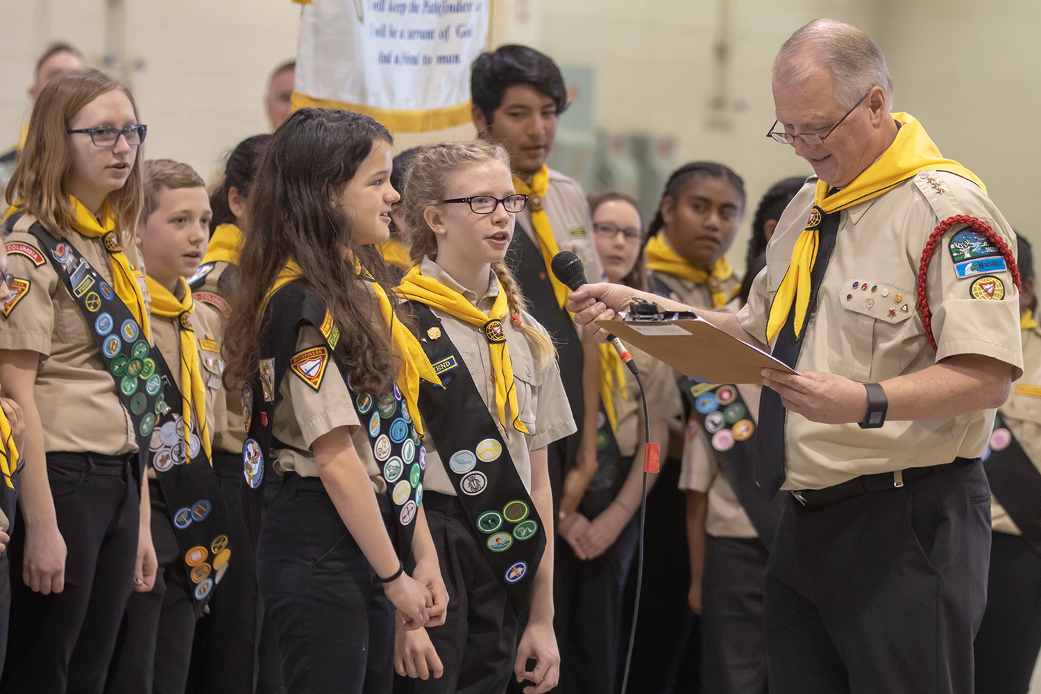 Pathfinders in uniform with leader