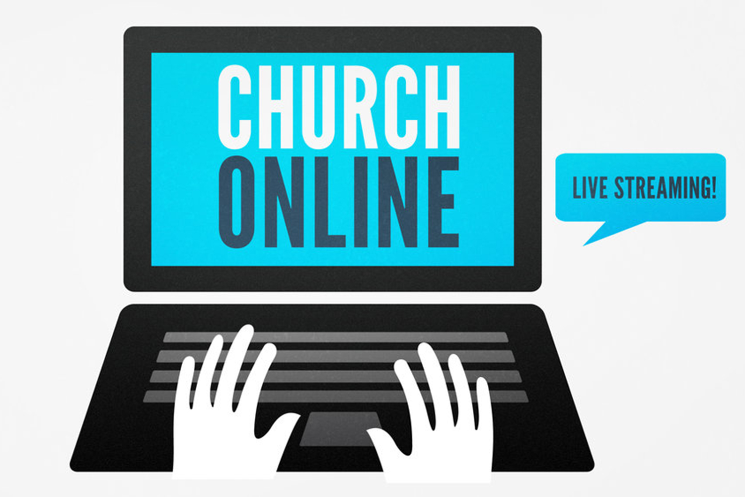 Computer with Church Online text on screen