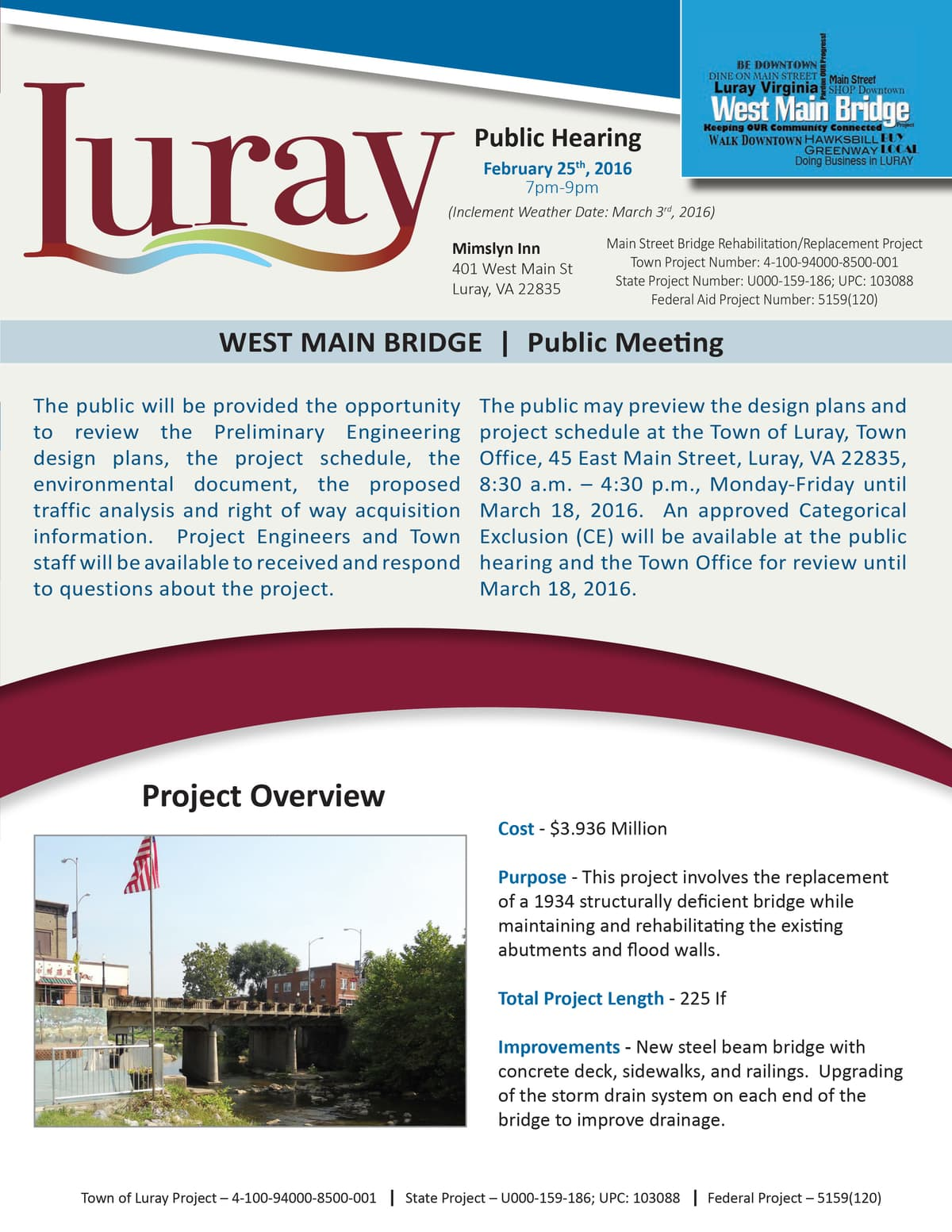 luray bridge public meeting announcement