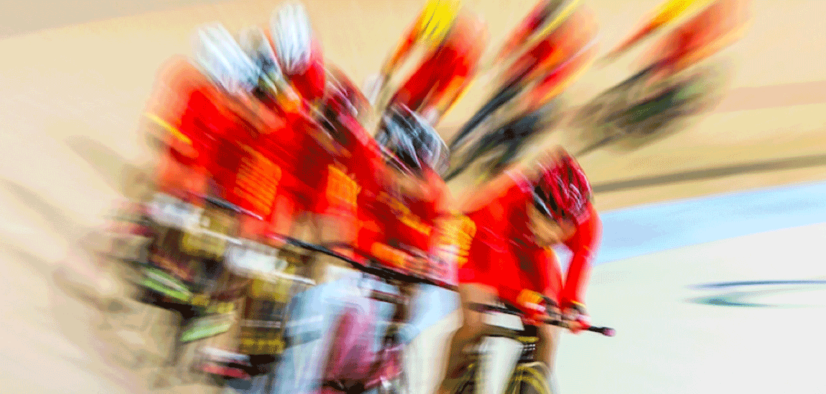 Blurred image of cyclist