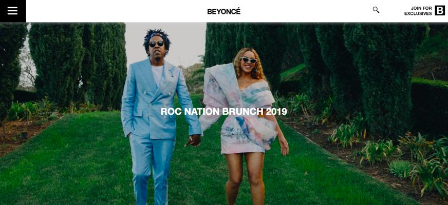 Screenshot of Beyonce's website