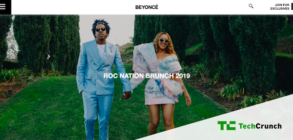 Screenshot of Beyonce's website