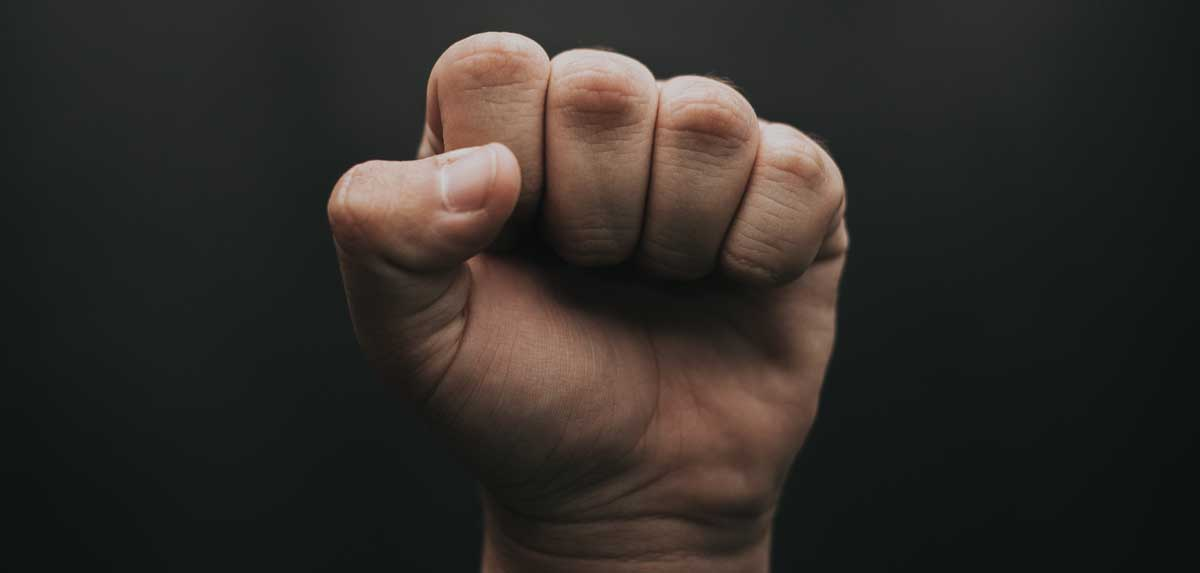 Fist raised in protest