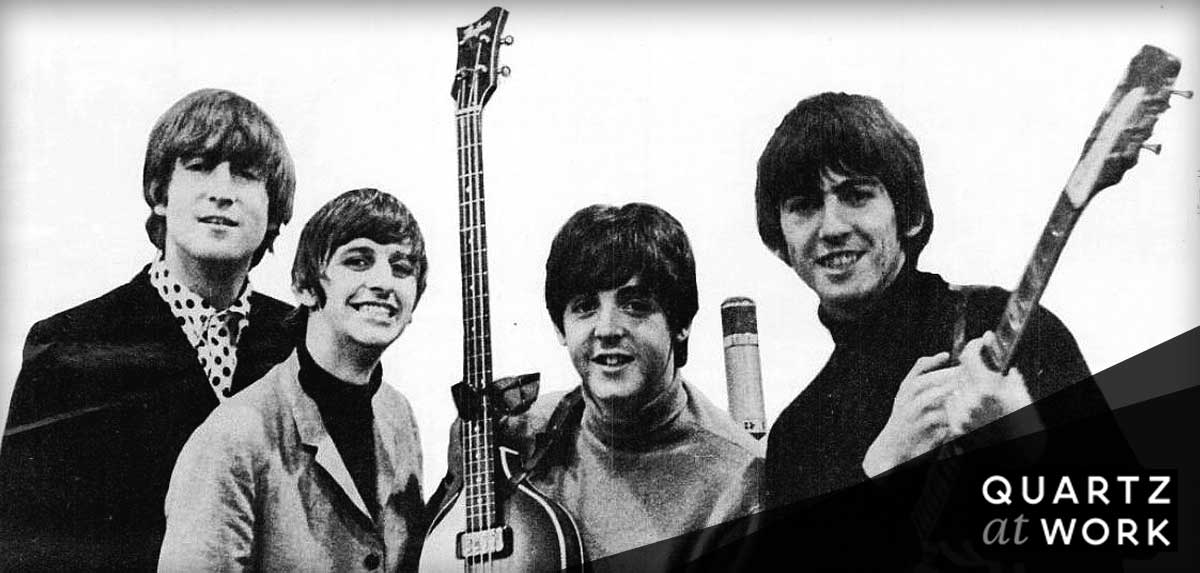 An image of The Beatles from a trade ad for Beatles' 1964 Grammys, courtesy of Wikimedia.