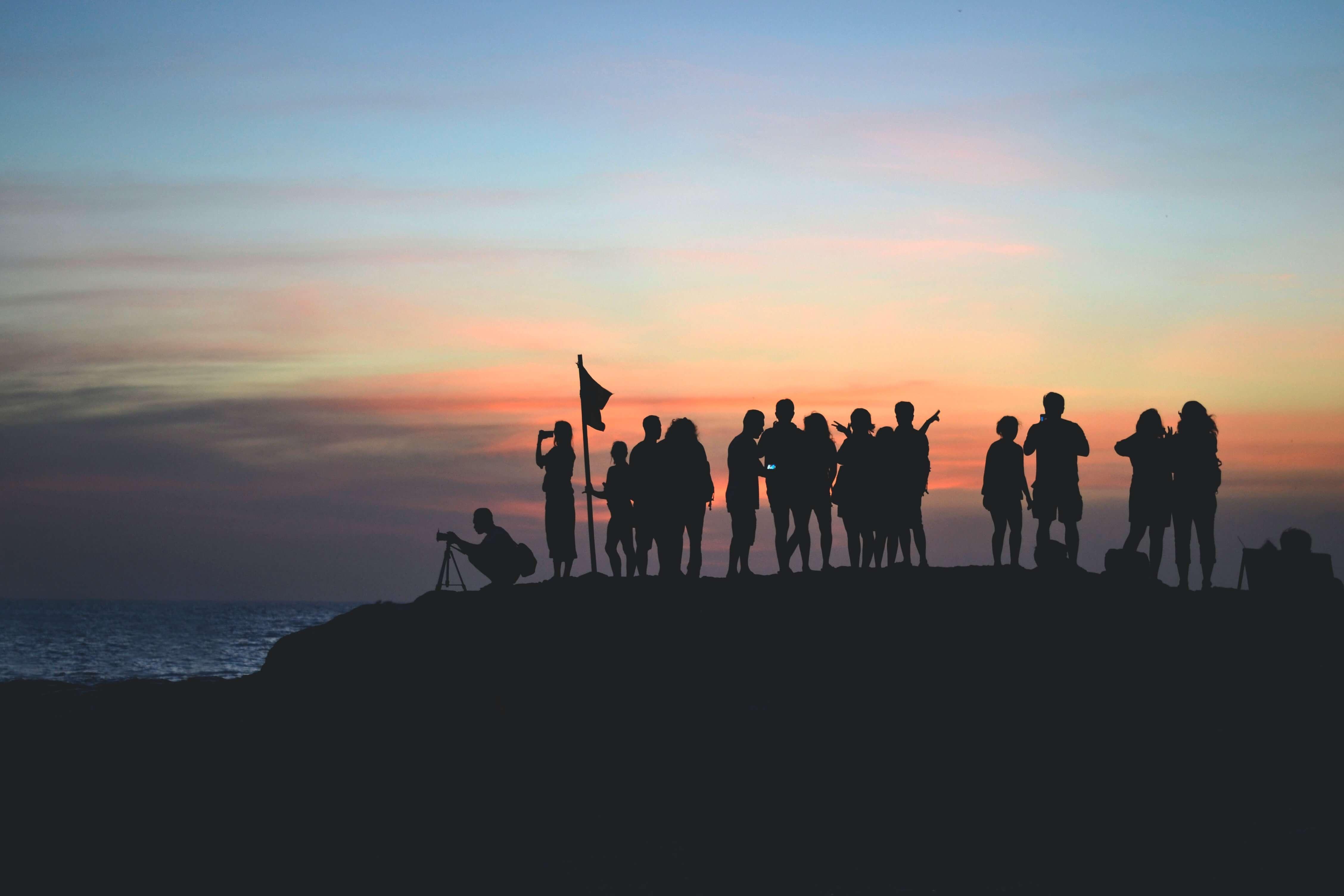 sunset, team, hiking